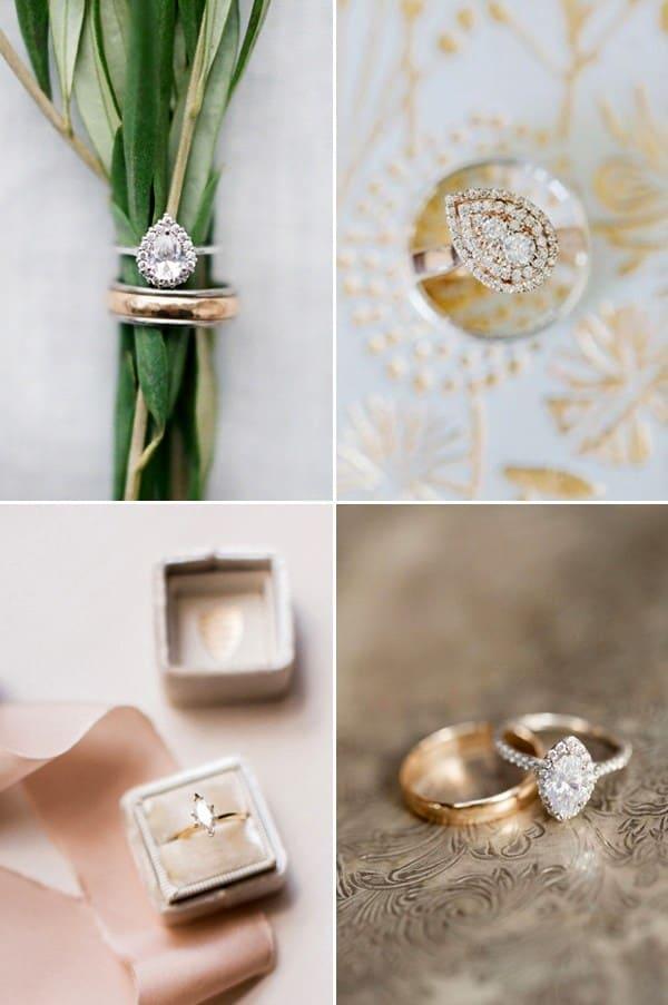 nhẫn cầu hôn đẹp mang hình Quả lê và hạt thóc mang biểu tượng của sự ngọt ngào