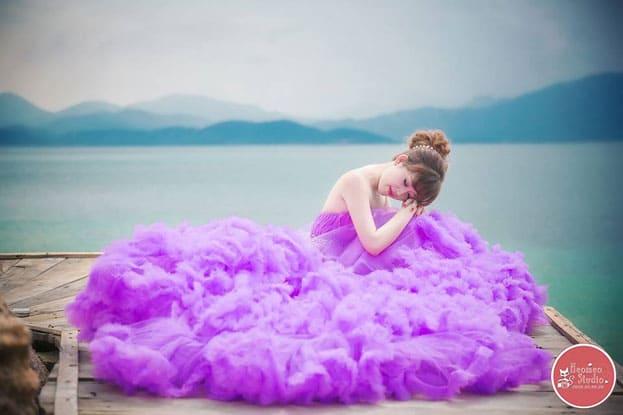 váy cưới màu tím 2016 đẹp