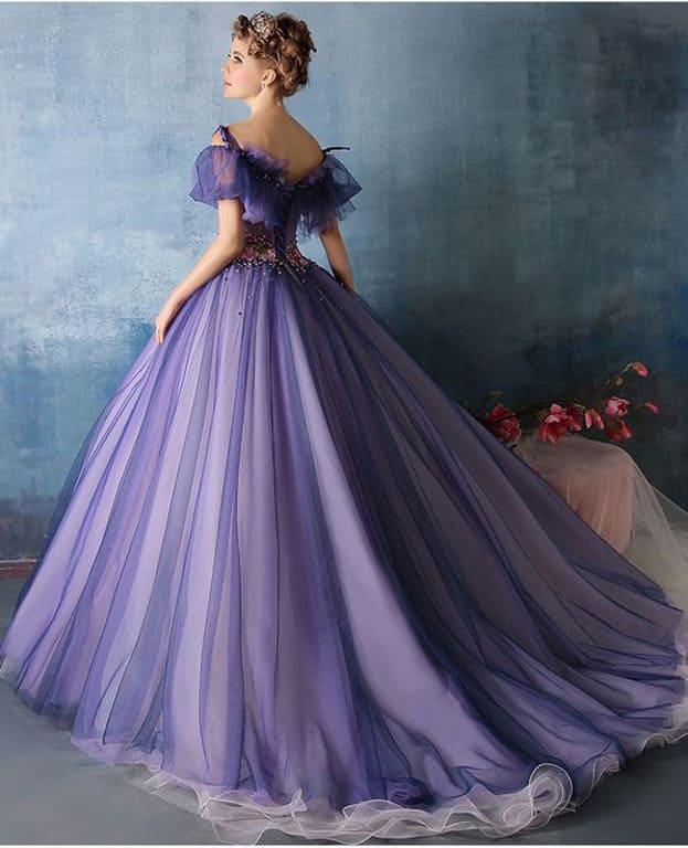 váy cưới màu tím đẹp quyến rũ