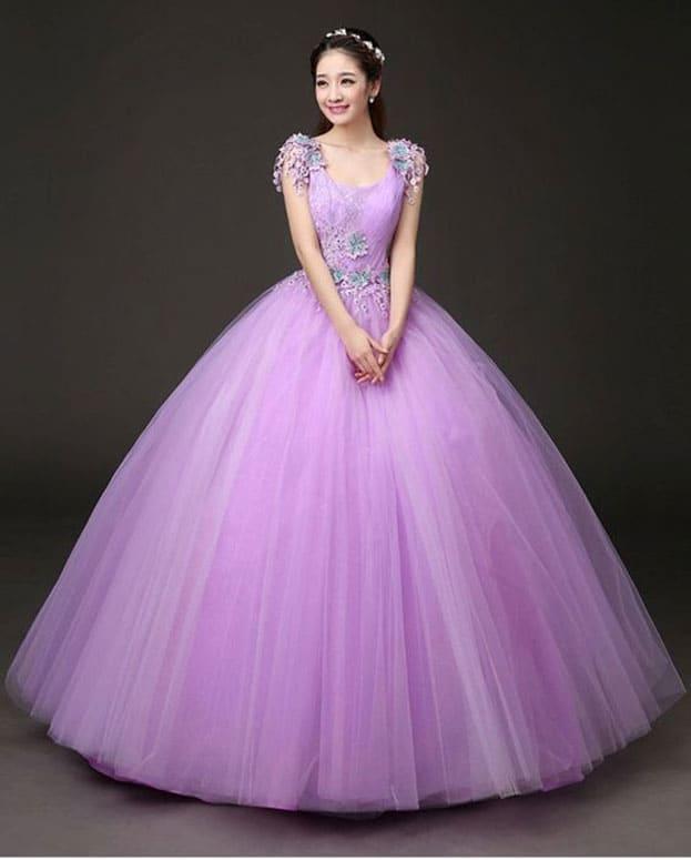 váy cưới màu tím bồng bềnh cho cô dâu xinh lung linh