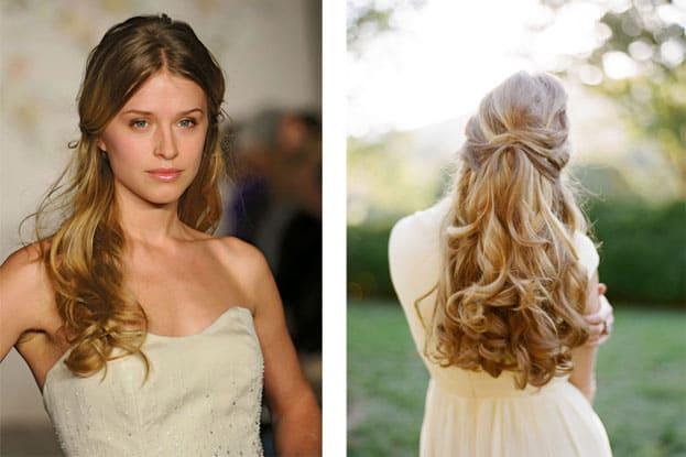 Kiểu tóc cô dâu buộc nửa đầu