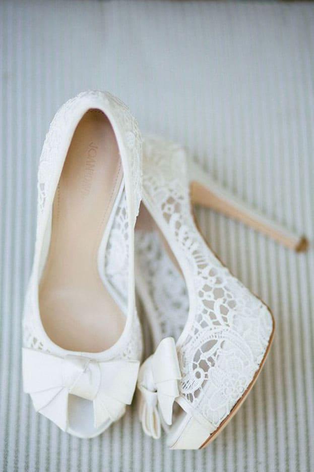 giày cưới ren trắng đẹp tinh tế