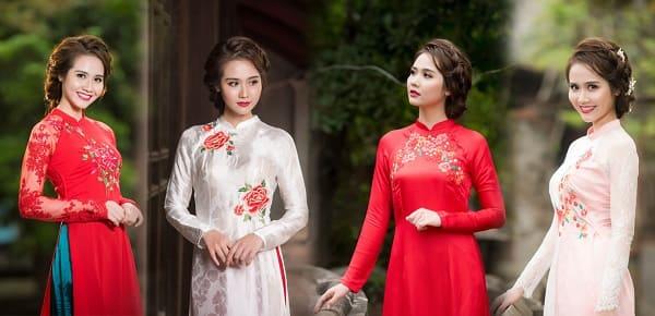 kiểu tóc cô dâu mặc áo dài 2