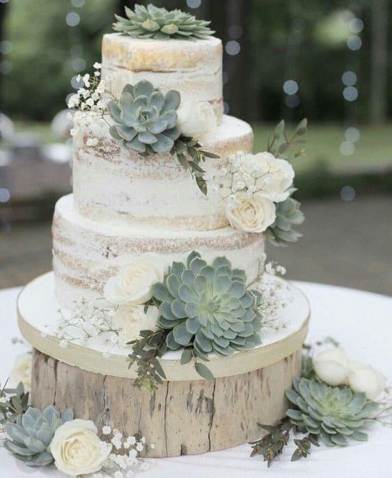 bánh cưới greenery phong cách tiệc cưới ngoài trời