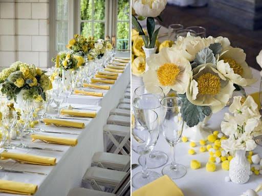 tiệc cưới ngoài trời tông vàng- trắng