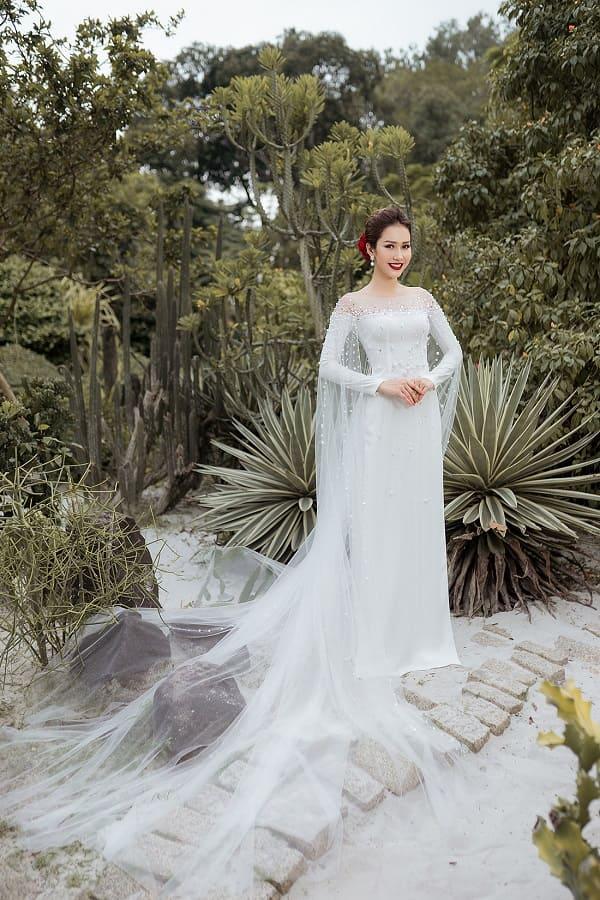 áo dài cưới màu trắng 16