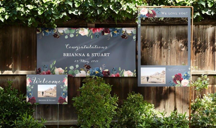 vinyl wedding banner floral themed wedding