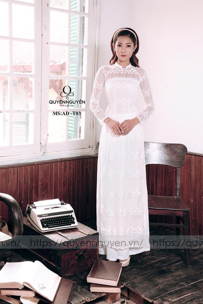 Áo dài cưới trắng đơn giản hiện đại Mate.vn