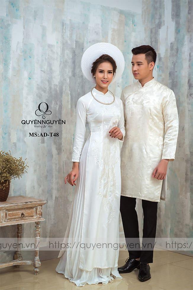 Áo dài cưới trắng đơn giản chất liệu Mate.vn