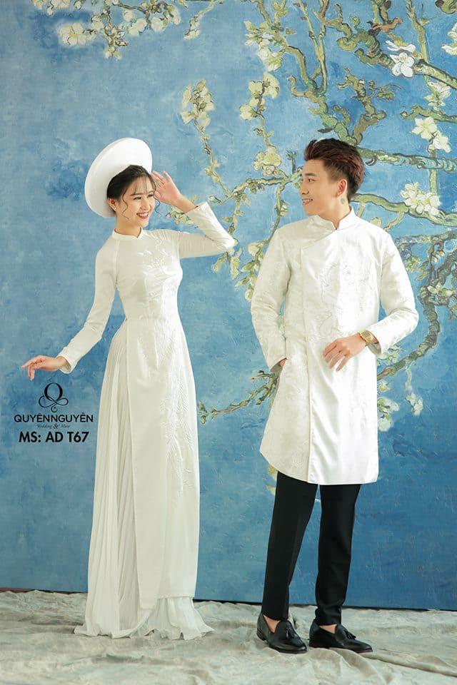 Áo dài cưới trắng đơn giản nội y Mate.vn