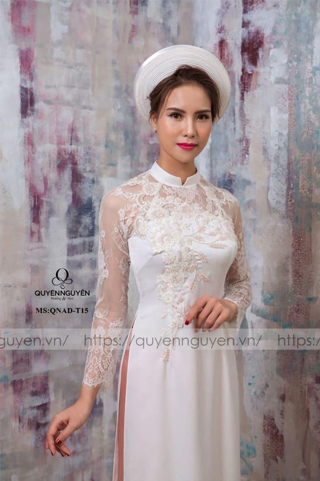 Áo dài cưới trắng đơn giản tay ren Mate.vn