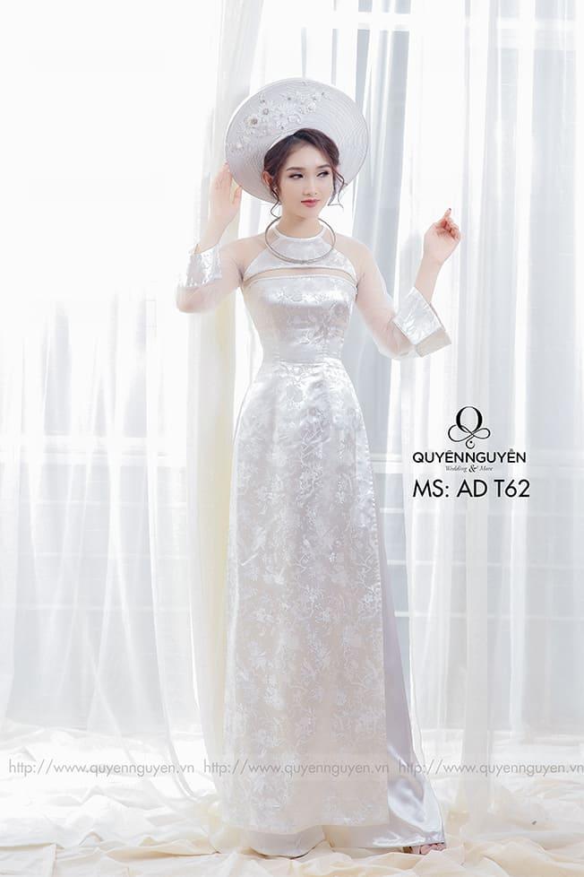 Áo dài cưới trắng đơn giản lụa Mate.vn