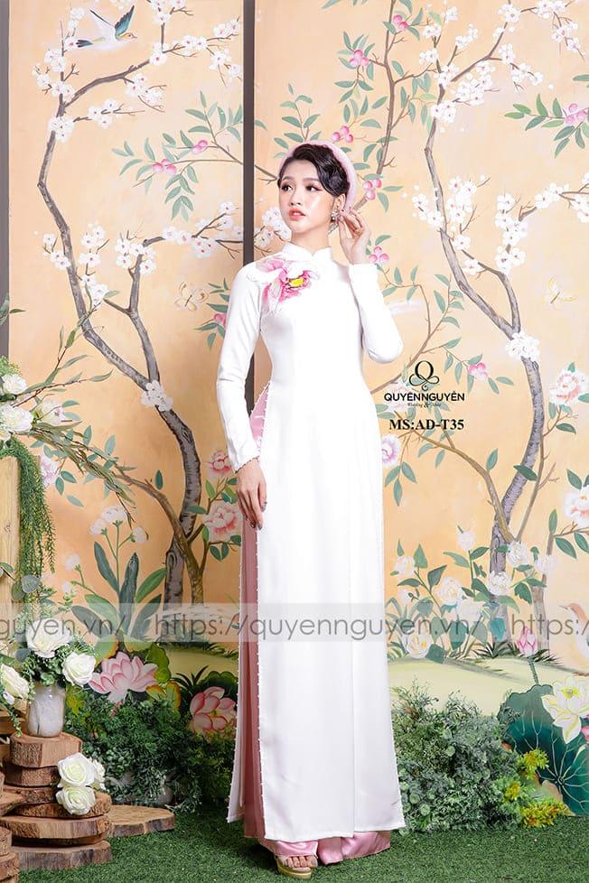 Áo dài cưới trắng đơn giản hồng Mate.vn