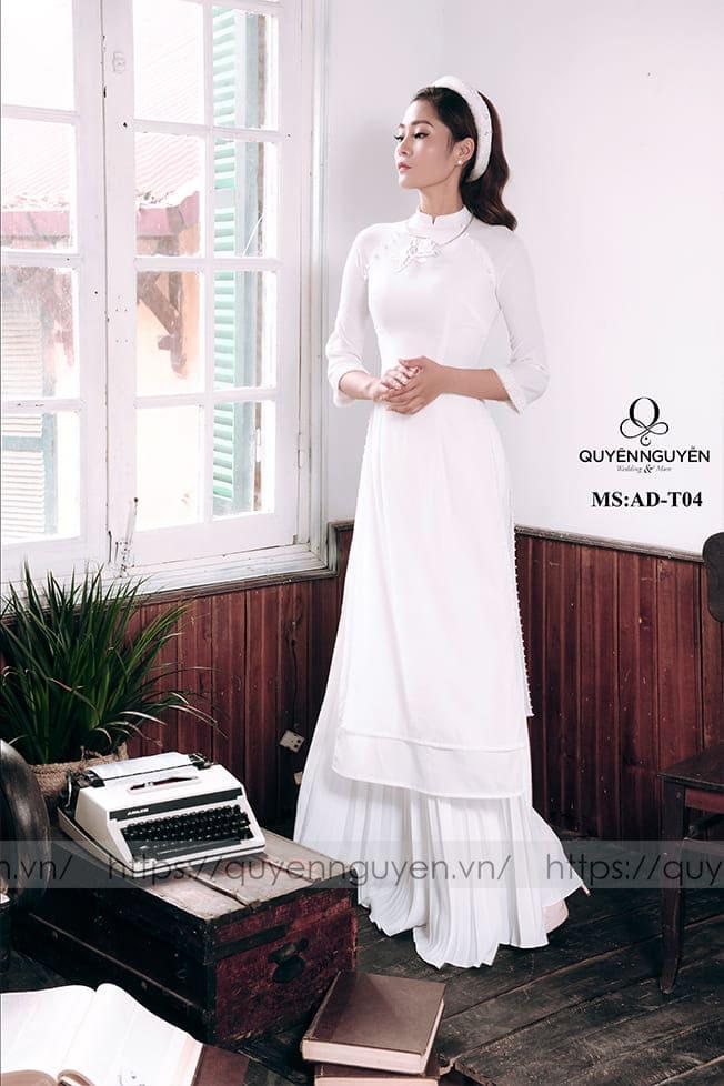 Áo dài cưới trắng đơn giản kiêu sa Mate.vn
