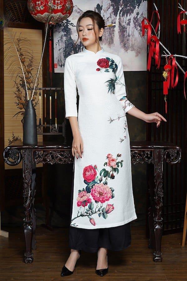 áo dài cưới gấm13 Mate.vn
