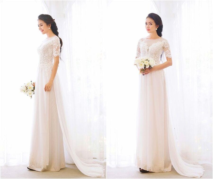 Lựa chọn giày như thế nào với áo dài cưới đơn giản Mate.vn