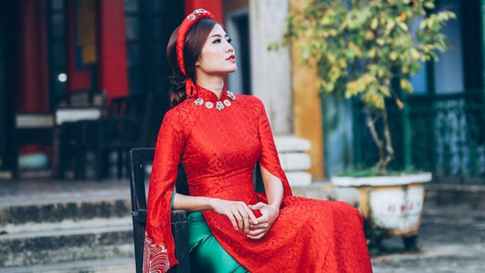 Áo dài cưới gấm đỏ - nét đẹp truyền thống sang trọng cho cô dâu Mate.vn