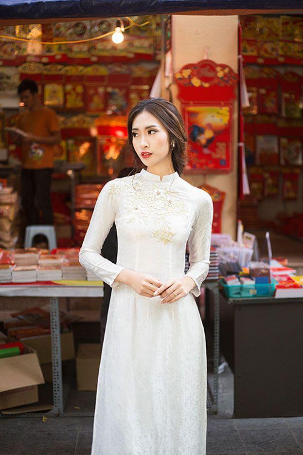 Áo dài cưới gấm trắng- nét đẹp truyền thống và sang trọng cho cô dâu Mate.vn